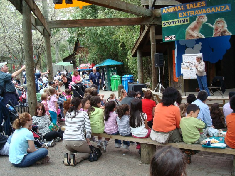 Betsy reading at the Bronx Zoo
