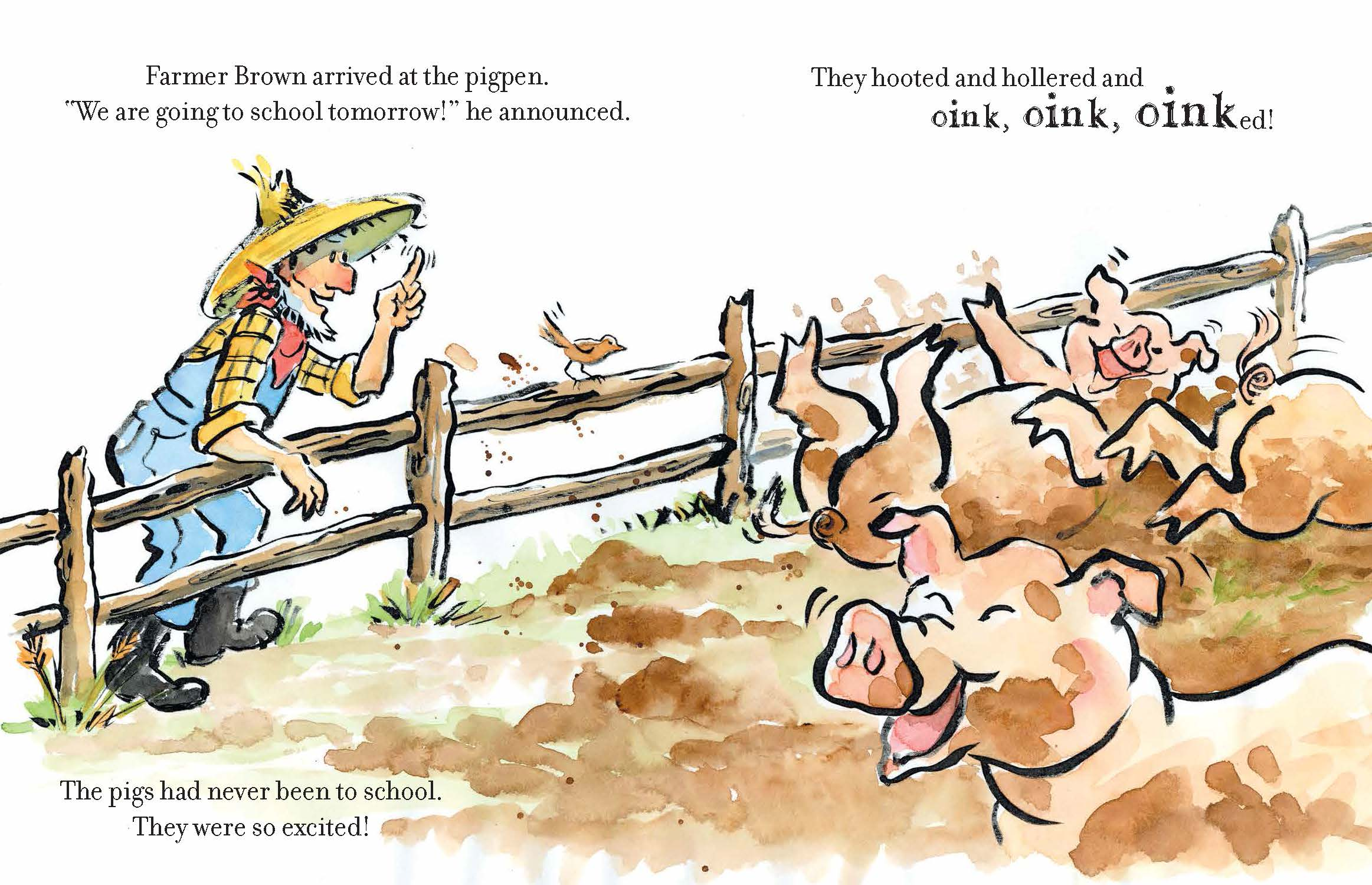 Click, Clack, Quack to School spread by Betsy Lewin